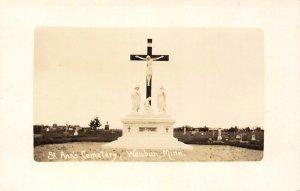 ST. ANN'S CEMETERY Waubun, Minnesota Graveyard Vintage Postcard 1931 RPPC