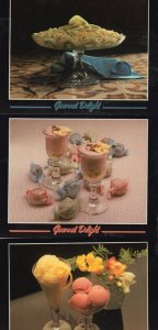 Sorbet Deserts 3x Gourmet Delight Confectionary Sweets Postcard s