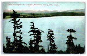 Early 1900s Lake Washington and Cascade Mountains near Seattle, WA Postcard