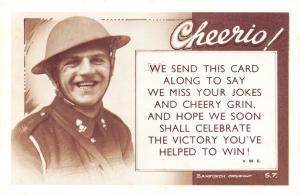 Nostalgia WW1 Bamforth Postcard Cheerio, Royal Artillery Reproduction Card NS15