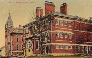 Tipton Iowa Red Brick Public Schools~Tower Dormers~Covered Entry 1910 Postcard