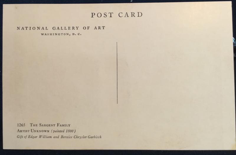 Postcard Unused National Gallery of Art Washington DC The Sargent Family LB