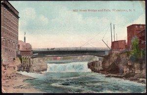New York ~ WATERTOWN Mill Street Bridge and Falls - Vintage DB - pm1919