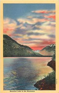 Beautiful Lake in the Mountains with Sunset Linen Postcard