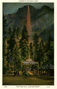 CA - Yosemite National Park. The Fire Fall, Glacier Point, Camp Curry