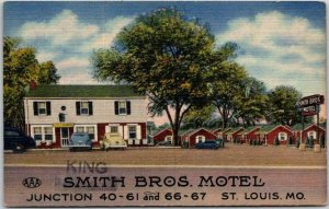 Missouri ROUTE 66 Roadside Postcard SMITH BROS. MOTEL (King Bros.) Linen c1950s