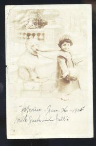 RPPC CUTE MEXICAN GIRL WITH POODLE DOG TO SEDALIA MISSOURI REAL PHOTO POSTCARD 2