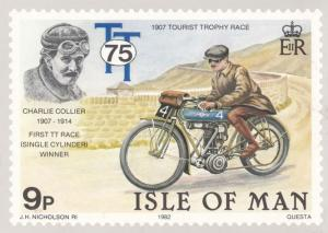 Charlie Collier 1907 Tourist Trophy Isle Of Man TT Races Stamp Rare Postcard