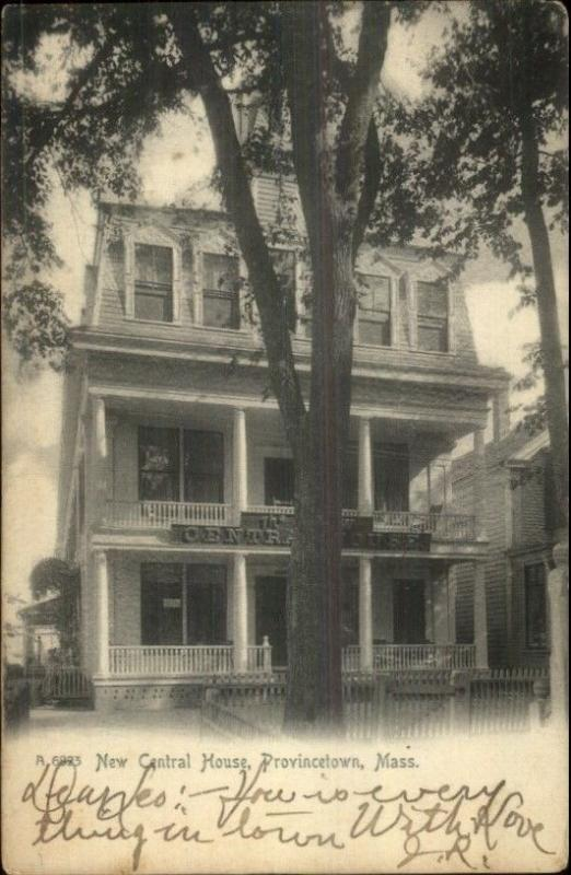 Provincetown Cape Cod MA New Central House c1910 Postcard