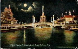 Postcard NY Coney Island Night Scene in Dreamland - Amusement Park 1909 L7