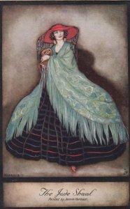 Art Deco ; Jennie HARBOUR ; The Jade Shaw, 1910s ; TUCK 3801