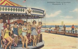 Amusement Center at Sportland, Manasquan, N.J., Early Linen Postcard, Used