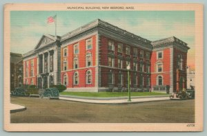 New Bedford Massachusetts~Municipal Building~c1930~Linen Postcard
