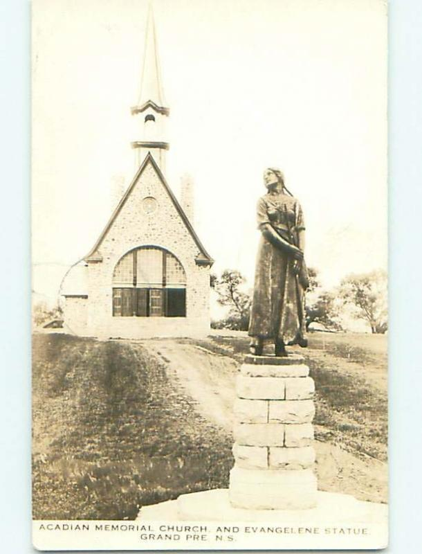 1939 rppc ACADIAN CHURCH IN GRAND PRE Nova Scotia NS CANADA t3157