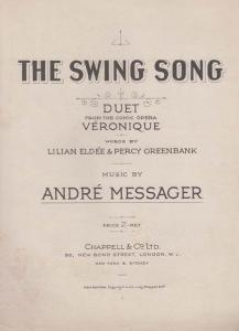 The Swing Song Andre Messager 1950s Sheet Music
