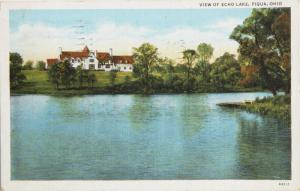View Of Echo Lake Piqua Ohio OH c1936 Vintage Postcard D33