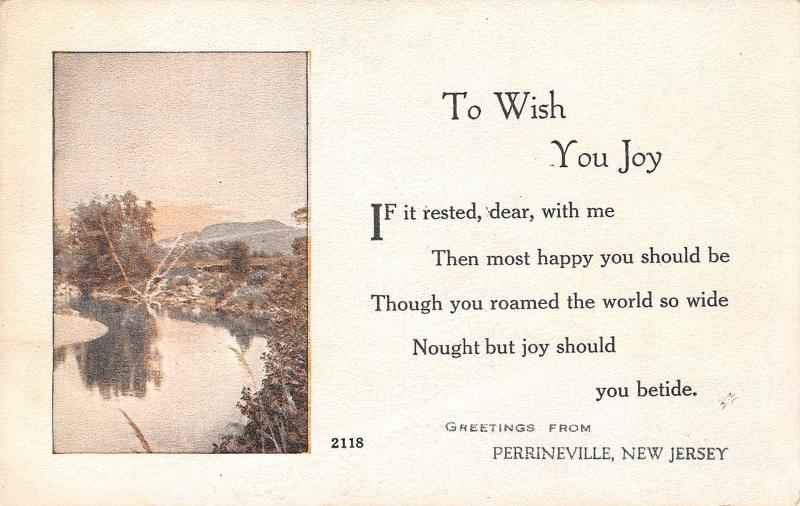 Perrineville New Jersey~Greetings to Wish You Joy~Rocky Brook Creek~1916 PC