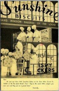 1939 NEW YORK WORLD'S FAIR Linen Postcard SUNSHINE BISCUITS Exhibit View