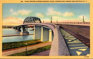New York Buffalo Peace Bridge Across Niagara River 1951 Curteich