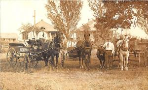 Cedar Hill TX Express Delivery Horse & Wagon Fleet Employees RPPC Postcard