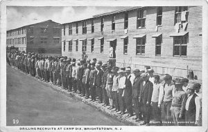 Military Post Card Drilling Recruits at Camp Dix Wrightstown, New Jersey, USA...