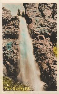 RPPC Five Spring Falls in the Big Horn Mountains - Wyoming