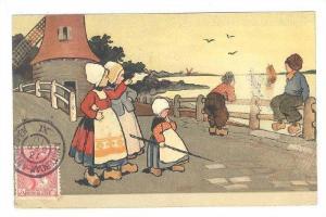 Dutch kids & windmill , Netherlands, PU-1910