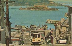 Cable Car San Fransisco Hill Alcatraz Island Postcard Ocean Postcard