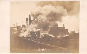 Waukegan Illinois~North Shore Electric Plant Fire? Railroad Cars~1908 RPPC
