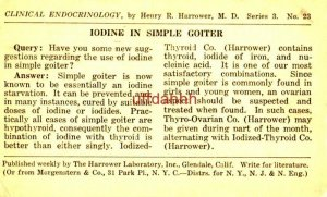 CLINICAL ENDOCRINOLOGY Henry R Harrower MD IODINE IN SIMPLE GOITER 1924