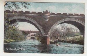 P2136, 1907 used  postcard Alloway Ayrshire,  the 3 bridges of O Doon U.K.