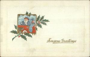 Christmas - Santa Claus Blue Hat & Coat in Car c1910 Postcard