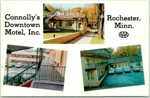 Rochester, Minnesota Postcard Connolly's Downtown Motel c1950s Chrome Unused