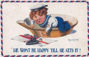 He Wont By Happy Till He Gets It British Military Ship WW1 Comic Humour Postcard
