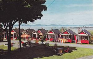 Picnic Area, Cabins at Cote´s Hotel, Facing the St. Lawrence River, Riviere ...