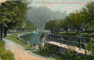Honesdale Pennsylvania~Irving Cliff~Main Street Bridge~Grecian Flower Urns~1909