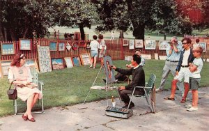 New England  OUTDOOR ART FESTIVAL  Artist Drawing Portrait  ROADSIDE  Postcard