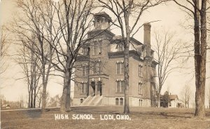 F70/ Lodi Ohio RPPC Postcard Medina Co c1910 High School Building 9