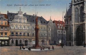 Germany Erfurt Fischmarkt mit Haus zum Breiten Herd Statue Postcard