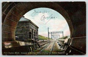 Port Huron MI~Watchman @ St Clair Tunnel Railroad Entrance~Electric Eqpmnt~c1910