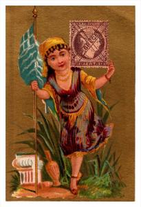 Greece  Stamp, Flag, Girl   Victorian Philatelic Trade Card