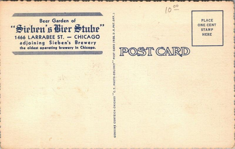 Chicago IL~Sieben's Brewery Bier Stube~Green Picnic Tables~Court Yard~1938 Linen