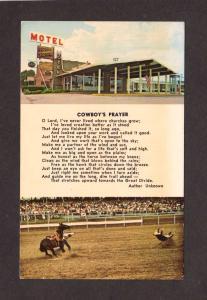 WY Home Ranch Motel Cheyenne Wyoming Postcard Cowboys Prayer Postcard Religious