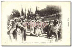 Old Postcard Religious Holidays Arab visiting the marabout