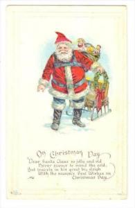 Christmas : Santa Claus, Santa Claus Walking, Carrying Toys, 1900-1910s