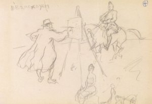 Munnings Military Horse Sketch Painting Postcard