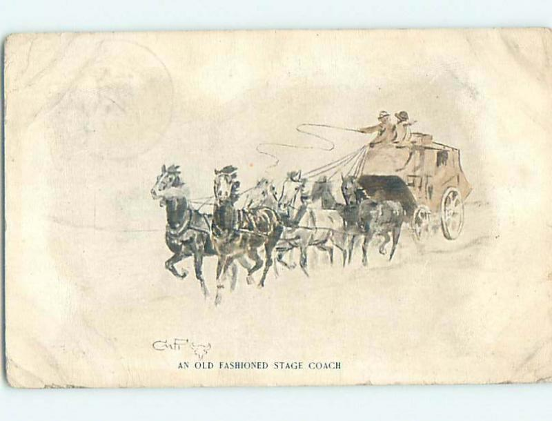 Pre-Linen signed HORSES PULLING OLD-FASHIONED STAGECOACH HL6213