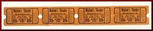 Four .35 Cents Marlow's Movie Theatre Tickets, Murphysboro, Illinois/IL, 1950's?