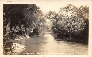 Ableman Wisconsin~Suspension Bridge Over Baraboo River~1933 Real Photo~RPPC