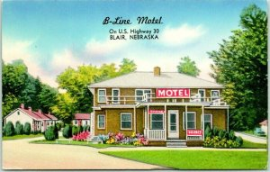 Blair, Nebraska Postcard B-LINE MOTEL Highway 30 Roadside Chrome / 1957 Cancel
